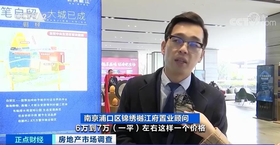 南京浦口区锦绣樾江府置业顾问:目前,南京河西的房价是一平方米6万到7万元左右,这个小区房价在27000元左右。