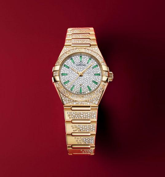 欧米茄全新星座系列珠宝腕表黄色 18K金款