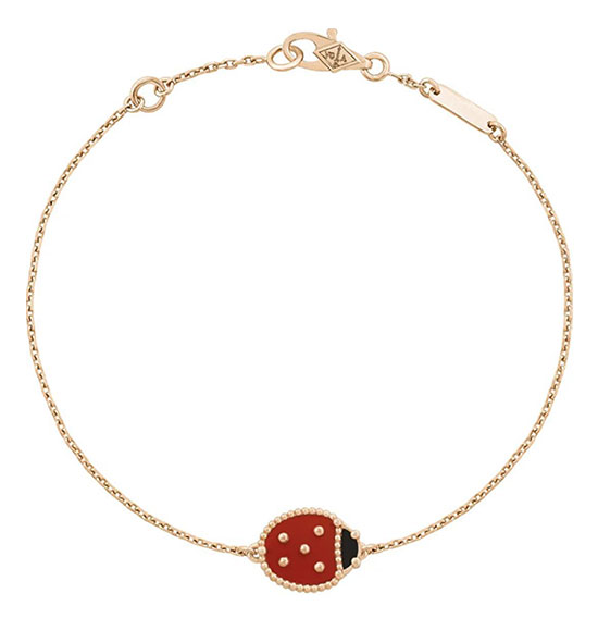 Lucky Spring手链,合翼瓢虫;玫瑰金、红玉髓及缟玛瑙
