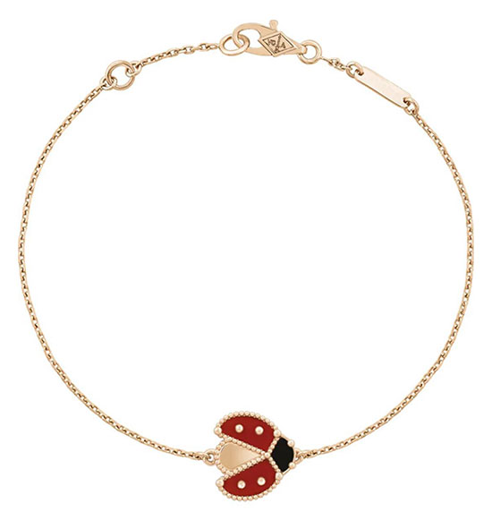 Lucky Spring手链,振翅瓢虫;玫瑰金、红玉髓及缟玛瑙