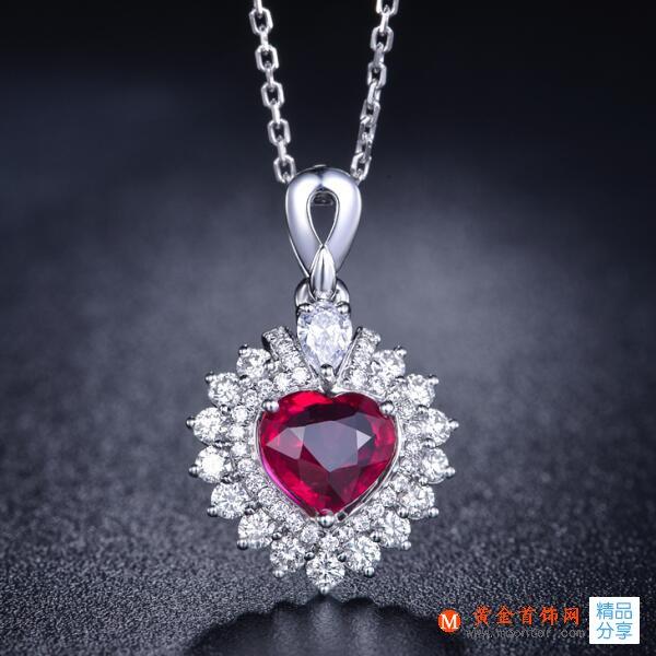 黄金首饰网红宝石项链,项链,红宝石项链,女士项链