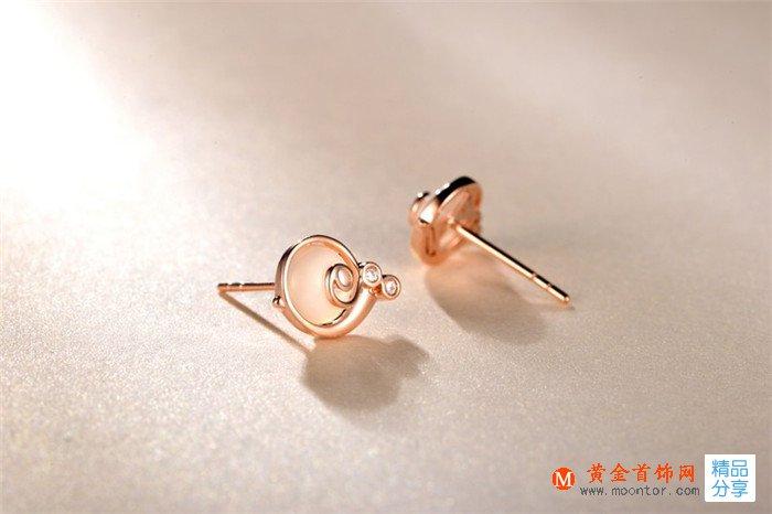 耳钉,玫瑰金耳钉,黄金首饰网