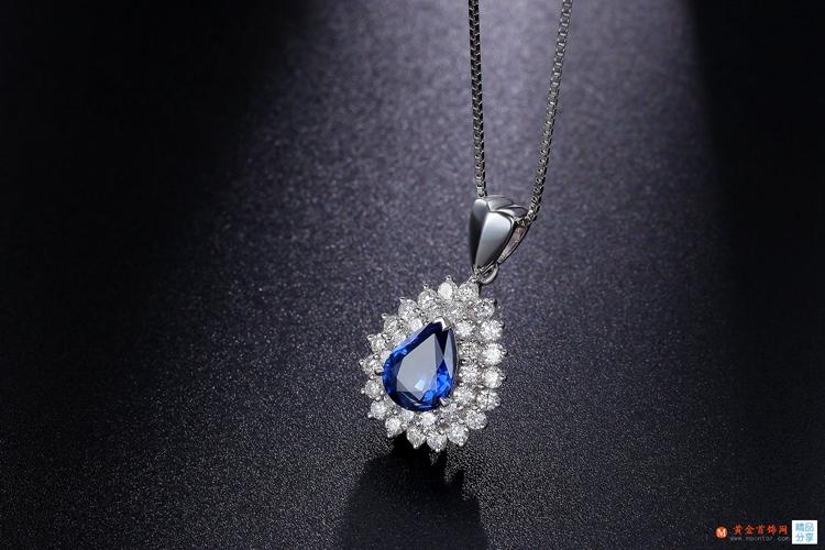 黄金首饰网蓝宝石项链