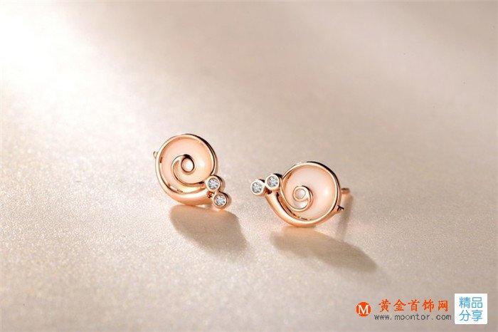 耳钉,玫瑰金耳钉,黄金首饰网耳钉