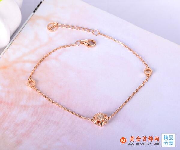 玫瑰金手链,手链,黄金首饰网手链