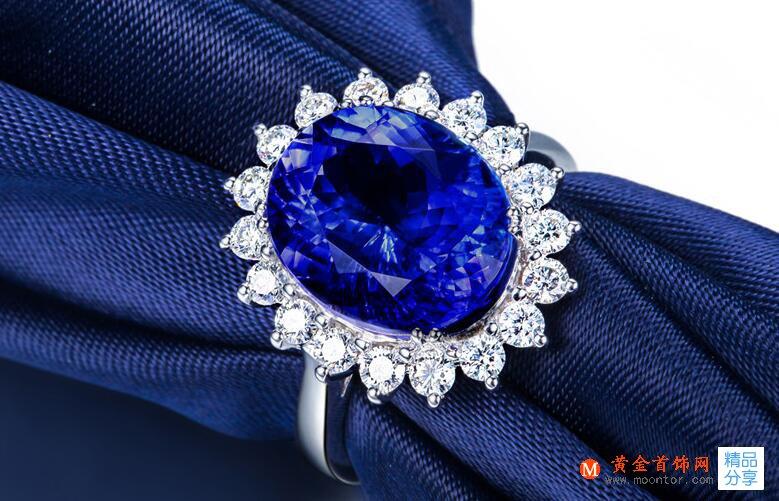 戒指,坦桑石戒指,黄金首饰网