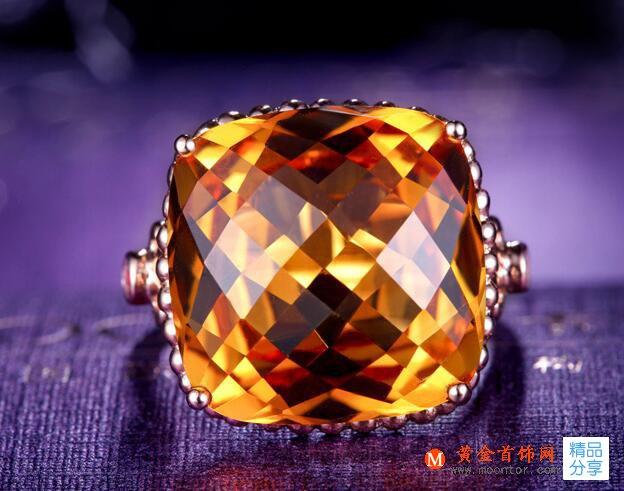 戒指,黄水晶戒指,黄金首饰网戒指