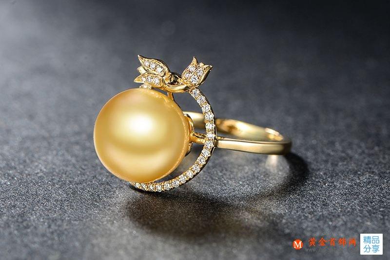 珍珠,金色珍珠,珍珠戒指