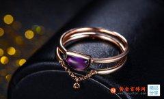 玫瑰金时尚紫晶戒指的戴法