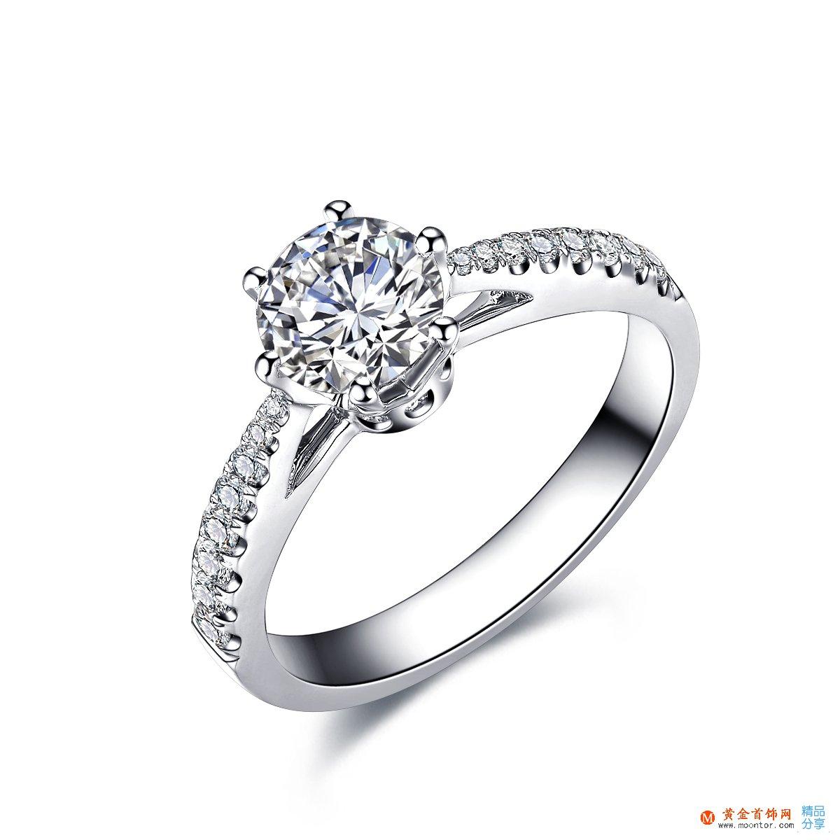 》》点击进入【真爱皇冠】 白18K金32分/0.32克拉钻石女士戒指