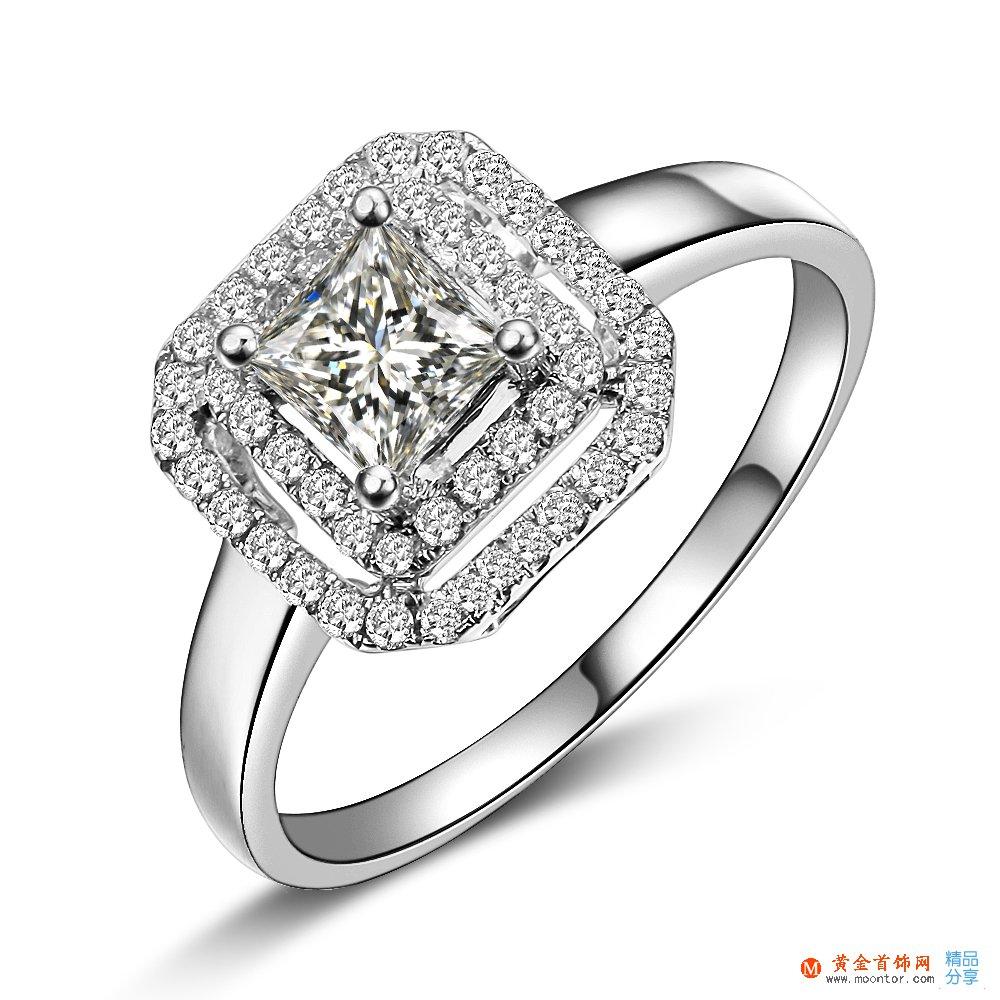 》》点击进入【璀璨闪烁】 公主方白18k金戒指