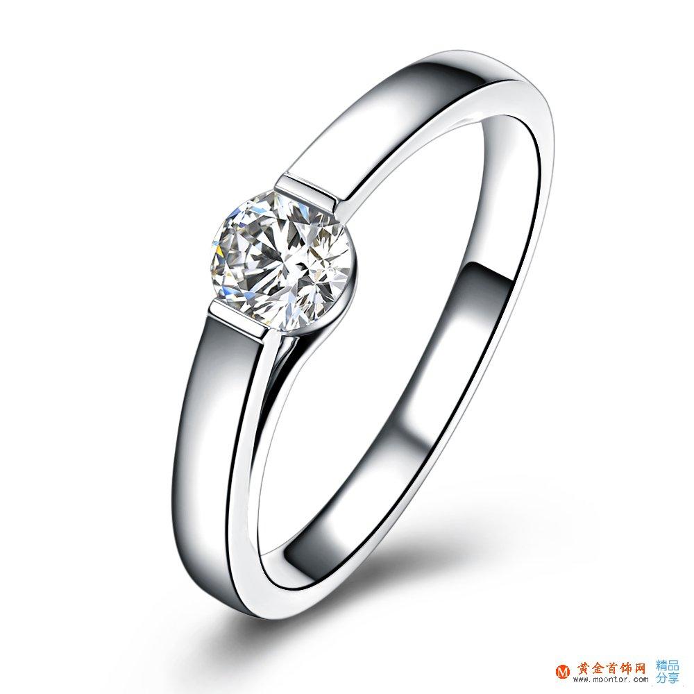 》》点击进入【恋爱零距离】 白18k金35分/0.35克拉钻石戒指