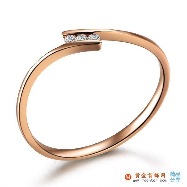 》》点击进入【秀气】 玫瑰金钻石戒指