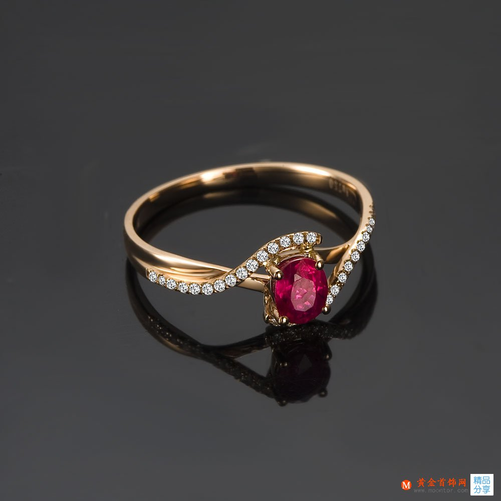 【悦然】 玫瑰天然红宝石金戒指
