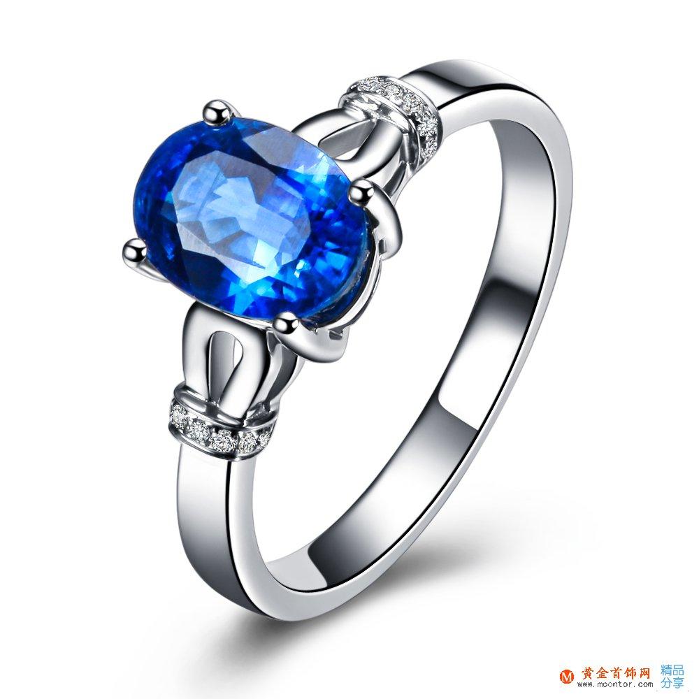 》》点击进入【蓝色海洋】 白18k金蓝宝石戒指
