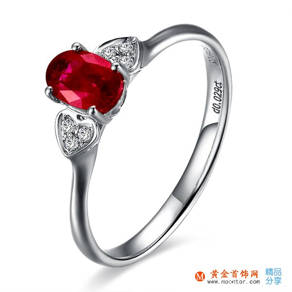 》》点击进入【红色心恋】 白18k金天然红宝石戒指