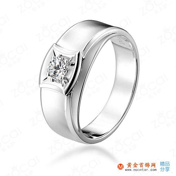【爱的轨迹】 白18k金22分/0.22克拉钻石男士戒指