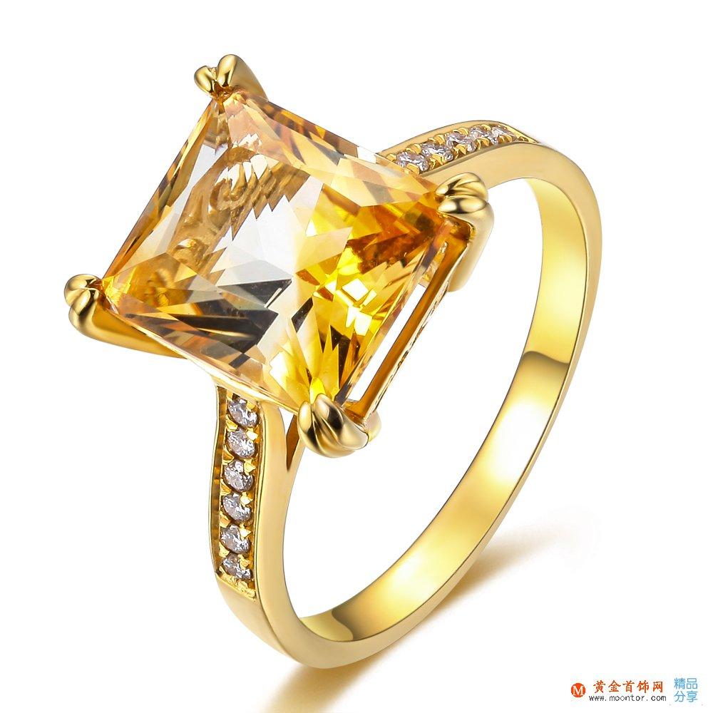 【精灵之舞】 黄18K金3.9克拉晶石豪华戒指