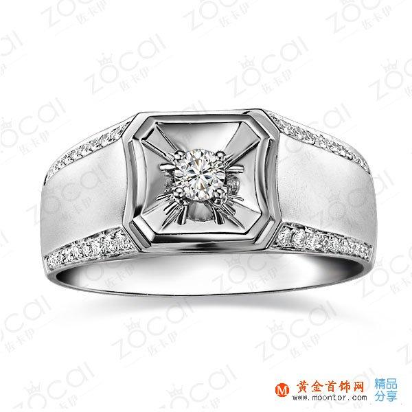 》》点击进入【骑士风采】 白18K金13分/0.13克拉钻石男士戒指