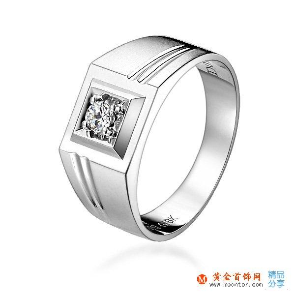 》》点击进入【宣言】 白18K金11分/0.11克拉钻石男士戒指