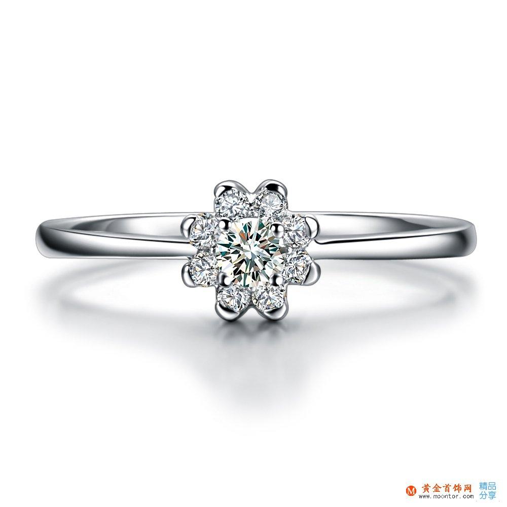 》》点击进入【花莲花语】 白18K金5分/0.05克拉钻石女士戒指