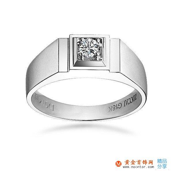 》》点击进入【魅力绅士】 白18K金14分/0.14克拉钻石男士戒指