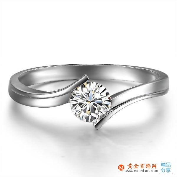 》》点击进入【水眸】 白18K金30分/0.3克拉钻石女士戒指