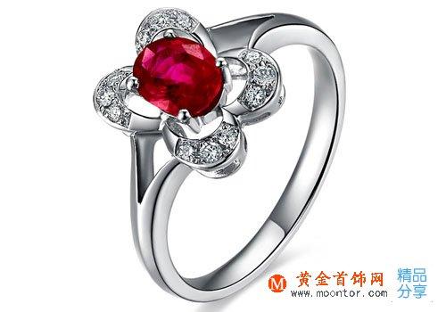 【火花】 天然红宝石白18K金女士戒指