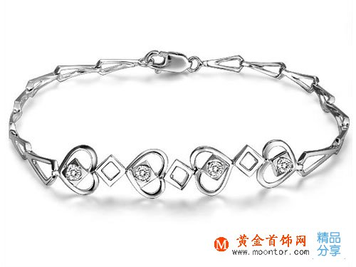【牵住爱】 ww珠宝首饰网钻石手链14分18K白金手链天然南非圆钻石