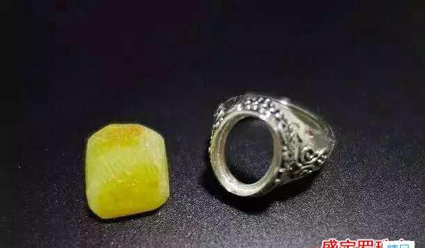 镶嵌蜜蜡戒指图片