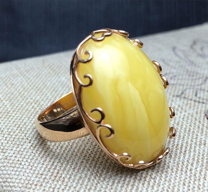 蜜蜡戒指镶嵌图片