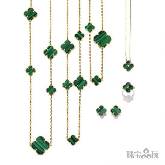 宝石知识:孔雀石(Malachite)-珠宝首饰展示图【行业经典】