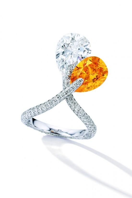 绝色佳品!4.08克拉梨形彩橙钻石戒指