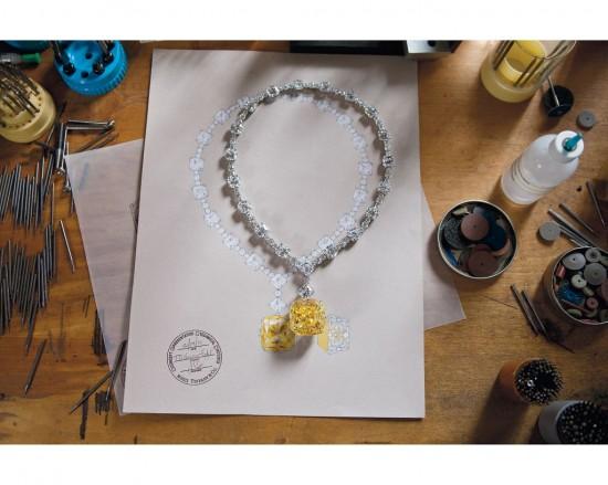 华丽耀眼 128.54克拉Tiffany黄钻项链