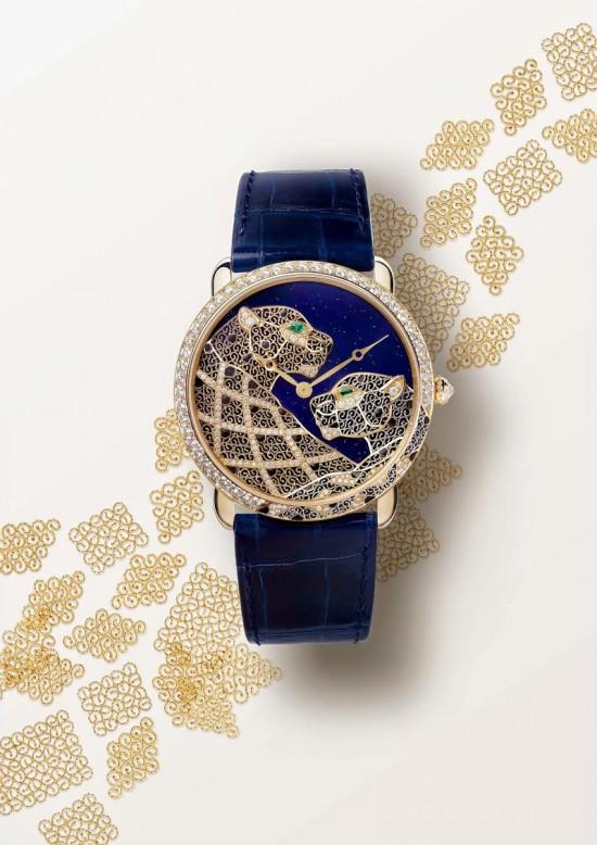 卡地亚Ronde Louis Cartier Filigrane金银丝细工美洲豹腕表