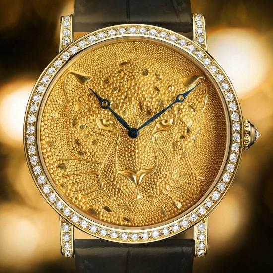 鬼斧神工 Rotonde de Cartier美洲豹珠粒装饰腕表