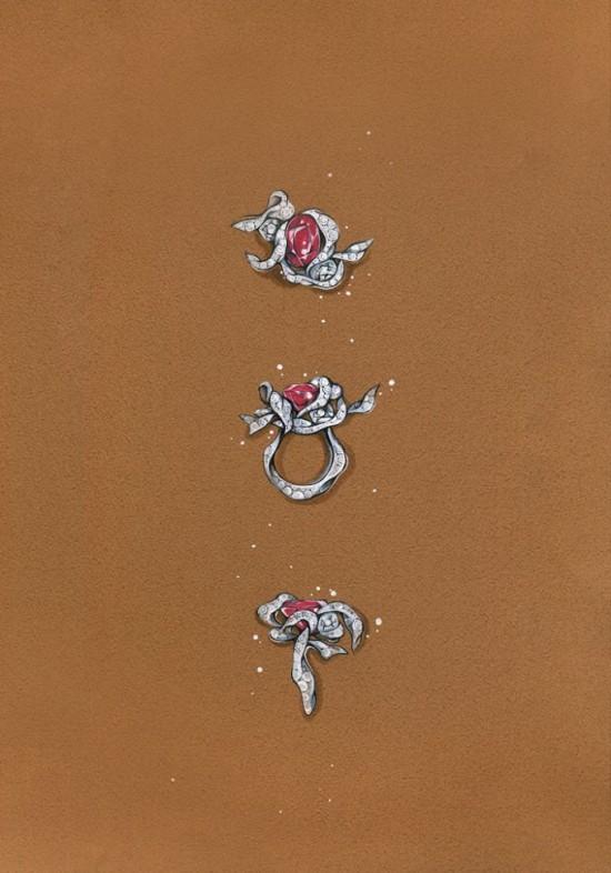 """赵心绮(Cindy Chao)8.03克拉缅甸""""鸽血红""""缎带戒指-珠宝设计【哇!行业大师灵魂之作】"""
