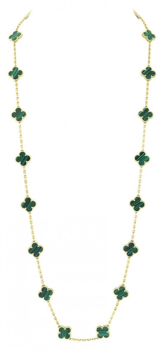 隽永优雅 梵克雅宝全新孔雀石Alhambra系列首饰-精美珠宝【秘密:适合高贵女人的珠宝】