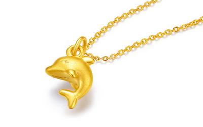 黄金吊坠项链 送女朋友的好礼物
