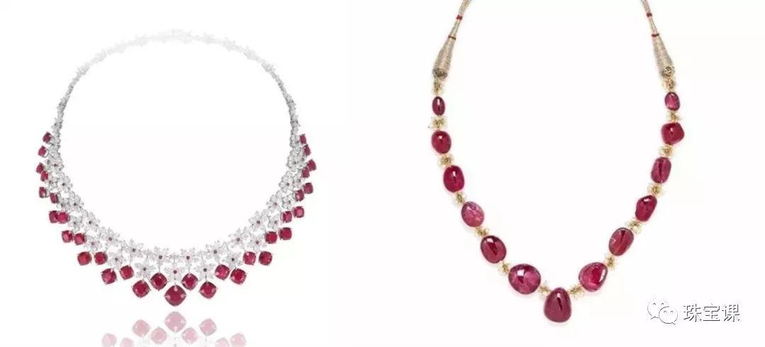 左:红宝石项链  右:尖晶石项链