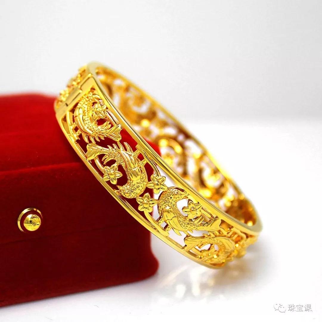 黄金手镯花纹寓意:喜鹊 手镯
