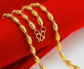 黄金项链,黄金手链,就差一个字,扣子都不一样~